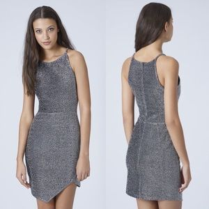 Topshop Lurex Silver Bodycon Dress